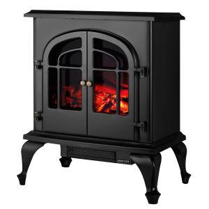 Warmlite 2000W Log Effect Stove Fire - High Gloss Black