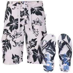 Smith & Jones Aniani Men's Swim Shorts and Flip Flops - White