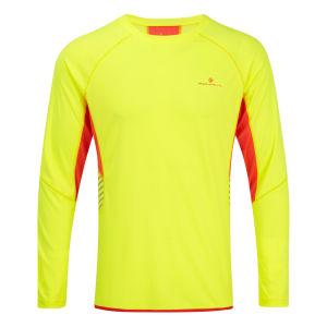 RonHill Men's Vizion Long Sleeve Crew Neck Top - Fluorescent Yellow/Fire