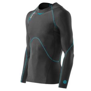 Skins Men's Coldblack Top Long Sleeve - Black/Process Blue
