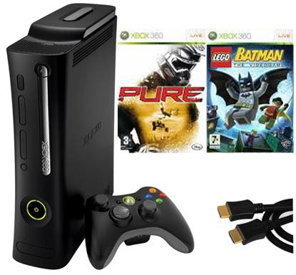 Xbox 360 Elite Console including Lego Batman, Pure & HDMI Cable