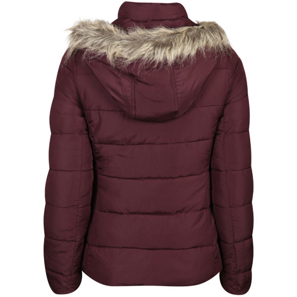 Brave Soul Women S Hooded Puffa Jacket With Fur Trim