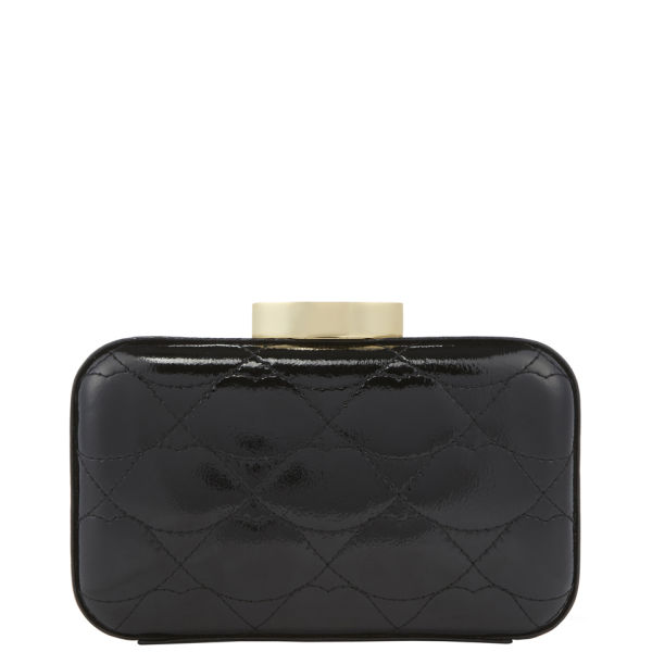 Lulu Guinness Quilted Lips Patent Leather Fifi Leather Clutch - Black