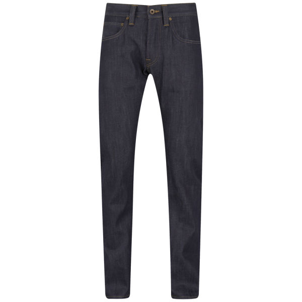 Edwin Men's ED55 Relaxed Tapered White Listed Indigo Selvedge Jeans - Unwashed