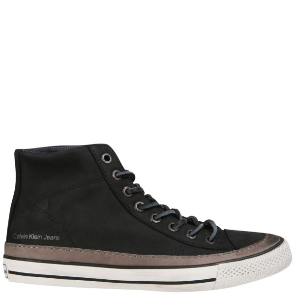 CK Jeans Men's Omero High Top Trainers - Dark Grey/Black