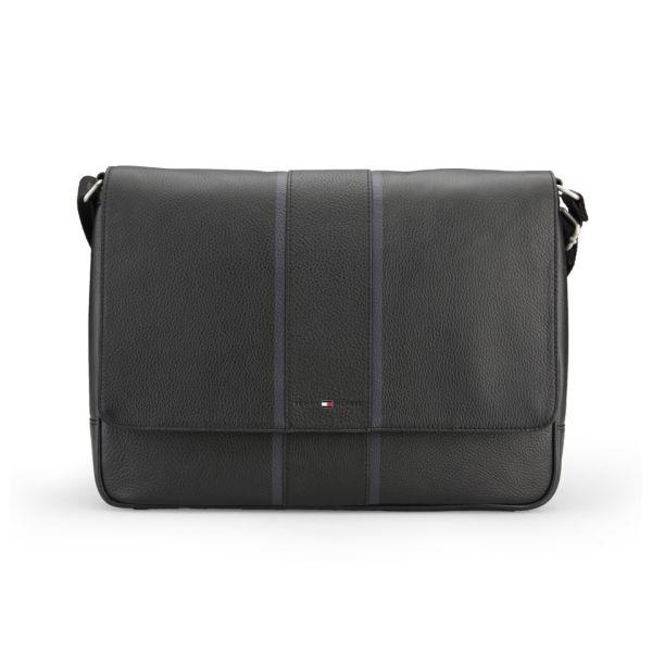 7d67dcddeb01 Tommy Hilfiger Men s Ridley Leather Messenger Bag with Flap - Black  Image 1