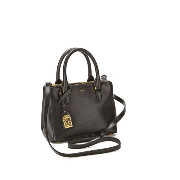 Lauren Ralph Lauren Women s Newbury Mini Double Zip Satchel - Black Gold   Image 2 b8a77d09cee98