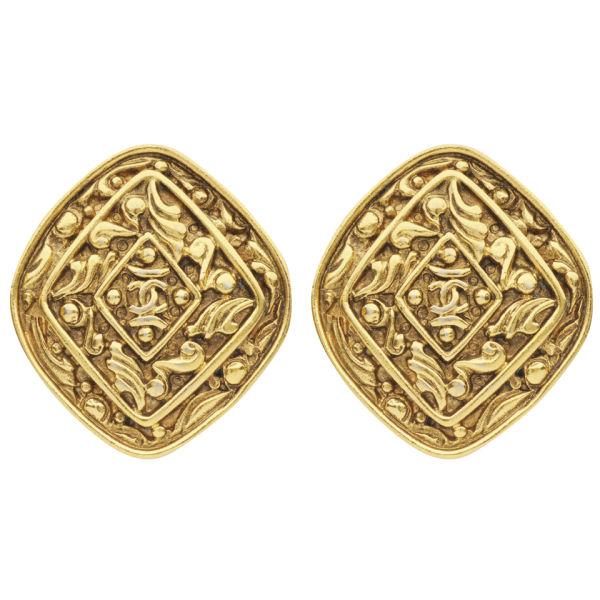Susan Caplan Vintage Chanel Gilt Metal Diamond Shape 'CC' Logo Earrings
