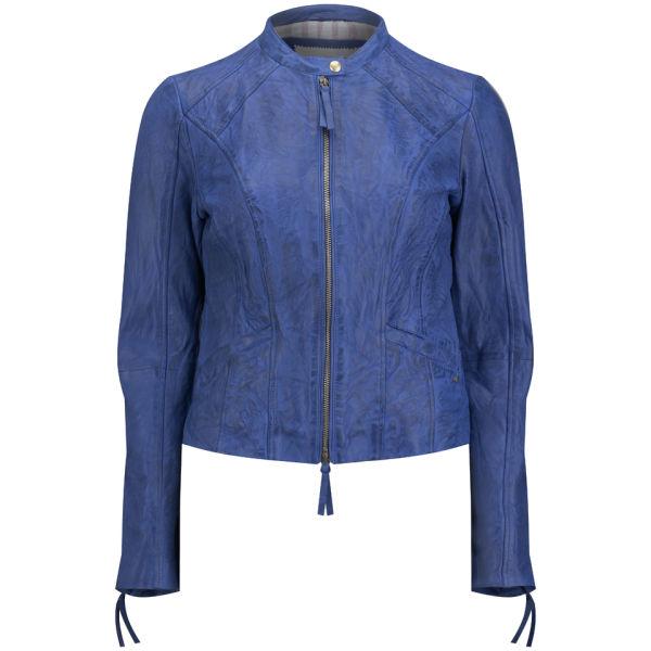 BOSS Orange Women s Janalisa Leather Jacket - Navy Womens Clothing ... 17d3e2333