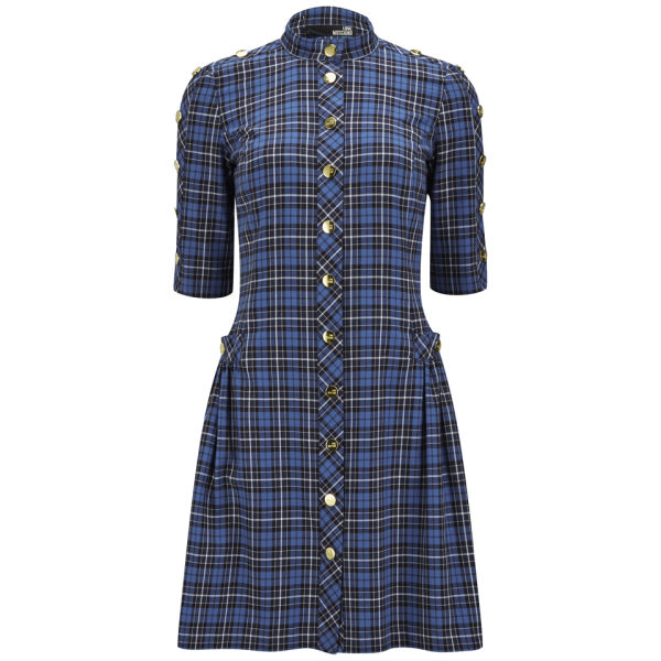 Love Moschino Women's Buttoned Tartan Dress - Blue Check