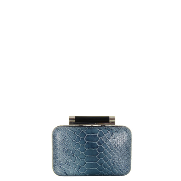 Diane von Furstenberg Tonda Small Embossed Python Clutch Bag - Twilight