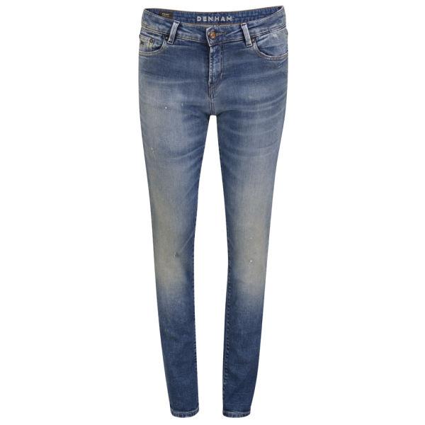 Denham Women's Mid Rise Point OBS Skinny Boyfriend Jeans - Ocean Blue