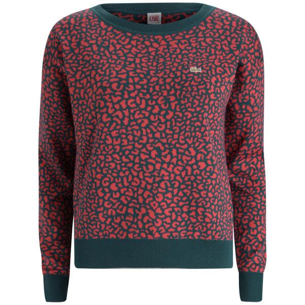 e1fb7b22e8 Lacoste Live Women s Jacquard Crew Neck Sweater - Dark Parrot Sandalwood   Image 1