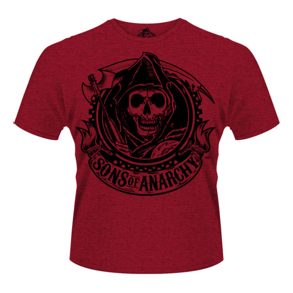 sons of anarchy men 39 s t shirt reaper banner merchandise. Black Bedroom Furniture Sets. Home Design Ideas