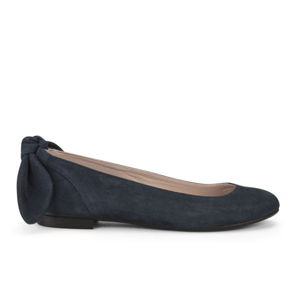Carven Women's Bow Back Suede Ballet Flats - Navy