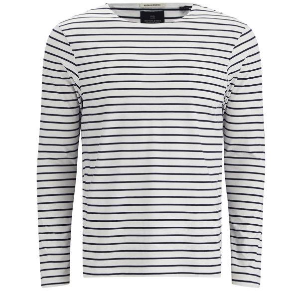 16d6d25277d9b Scotch   Soda Men s Printed Long Sleeve Stripes T-Shirt - White  Image 1