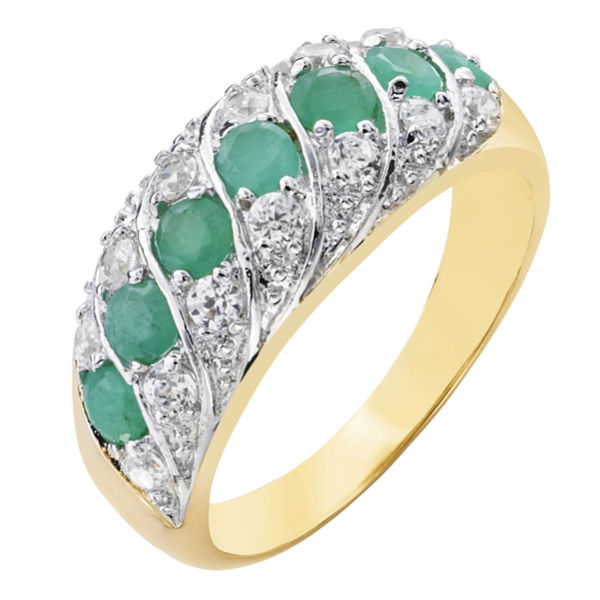 two toned emerald cubic zirconia band ring clothing