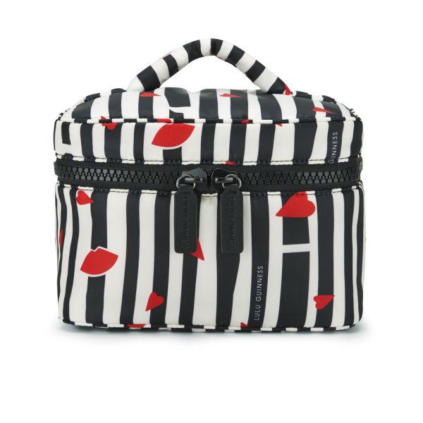 Lulu Guinness Lips and Stripes Vanity Case - Black/White/Red