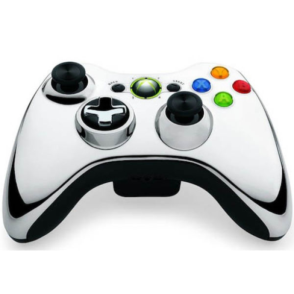 Xbox 360 Chrome Wireless Controller: Silver Games ...