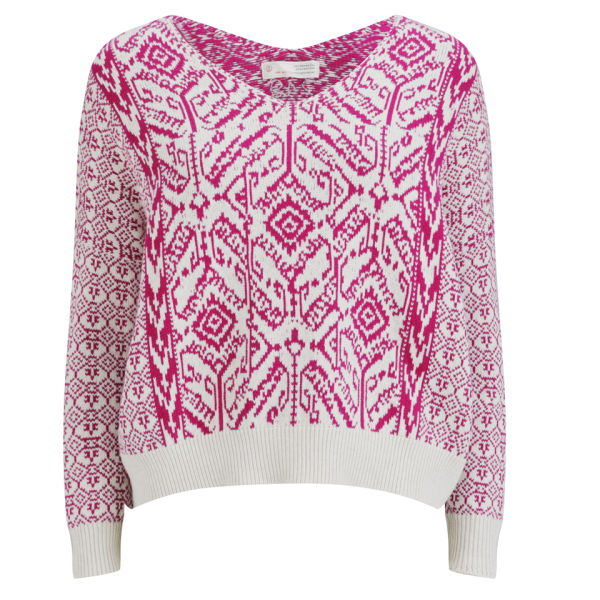 Odd Molly Women's Charger V Neck Sweater - Dark Pink