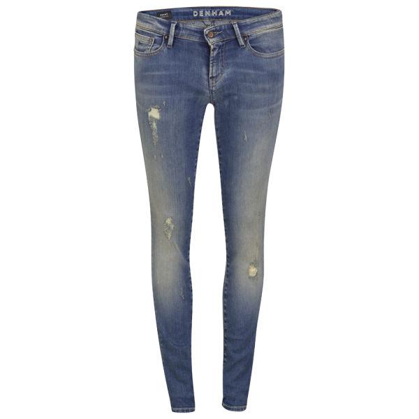 Denham Women's Mid Rise Skinny Ripped Boyfriend Jeans - Indigo