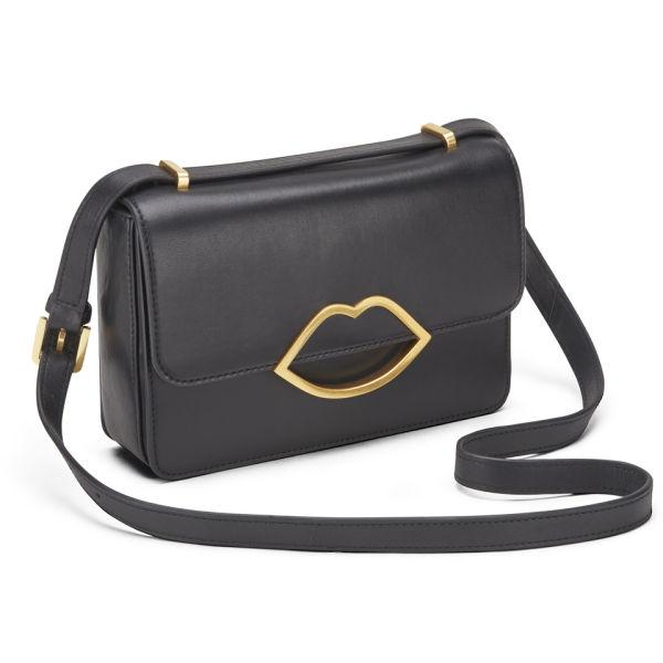 Lulu Guinness E Small Leather Cross Body Bag Black Image 2