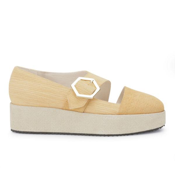 New Kid Women's Claude Coy Leather Platform Sandals - Peach