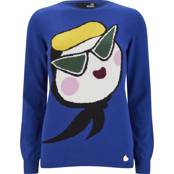 Love Moschino Women's Face Knitted Jumper - Cobalt Blue