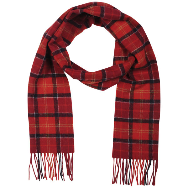 Barbour Cardinal Tartan Lambswool Scarf - Red