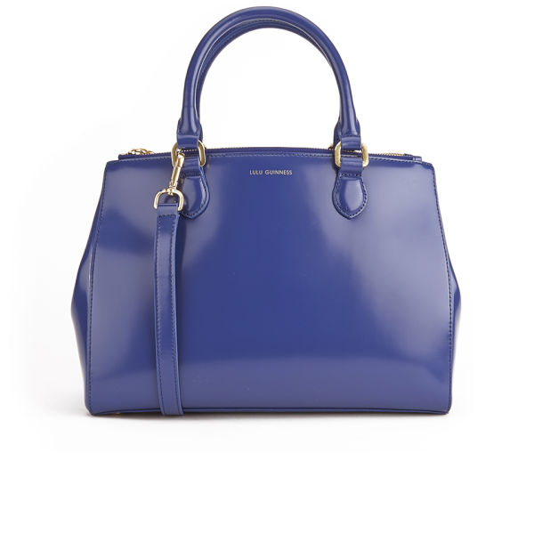 d19ef92481 Ideal Lulu Guinness Amelia Medium Leather Tote Bag - Dark Blue - Free UK  MN46