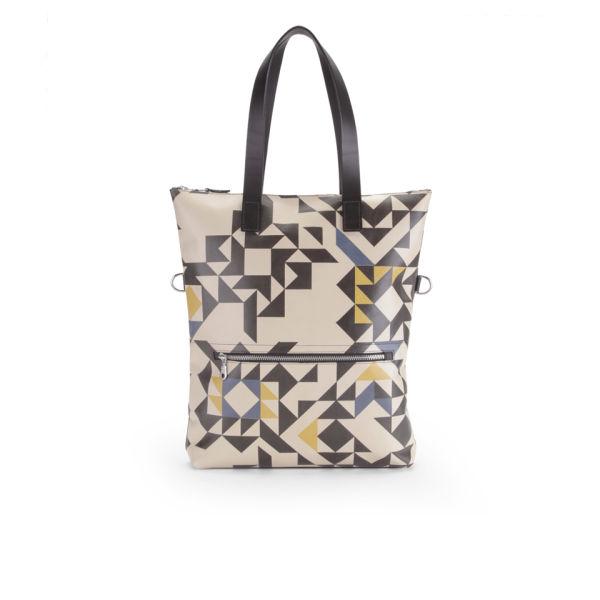 Kate Sheridan Graphic Print Zip Top Leather Tote Bag - Multi