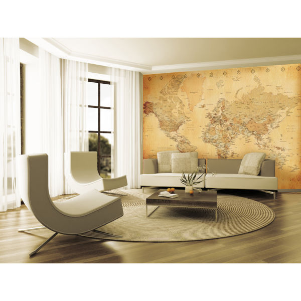 1 Wall Old Style World Map Wall Mural Homeware Zavvi