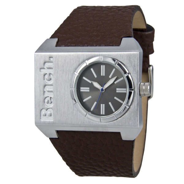 Mens Dial Silver Watch Bench Strap Square Brown jLzVqUpSMG