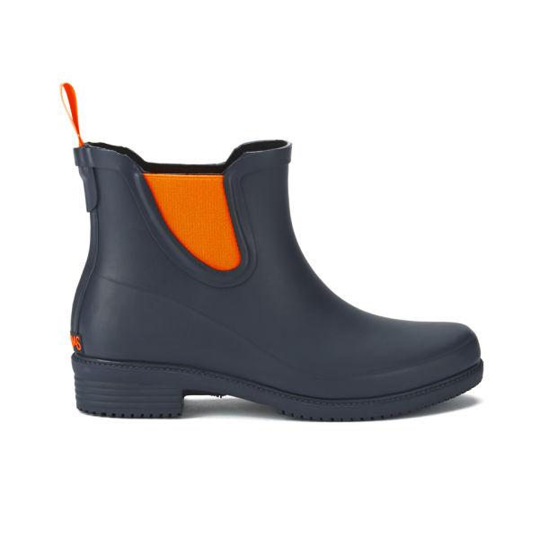 SWIMS Women's Dora Slip-On Short Wellington Boots - Navy/Orange