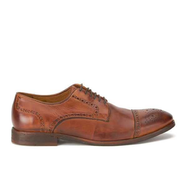 Hudson London Men's Davern Drum Dye Leather Wing Tip Brogues - Tan