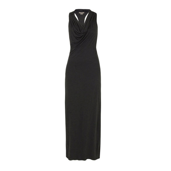 Helmut Lang Women's Kinetic Jersey Racer Back Cowl Neck Maxi Dress - Dark Heather