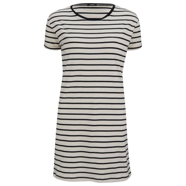 Denham Women's Striped Jersey T-Shirt Dress - Chalk