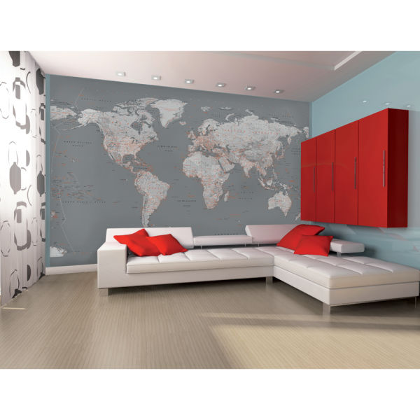 Silver map wall mural iwoot silver map wall mural gumiabroncs Images