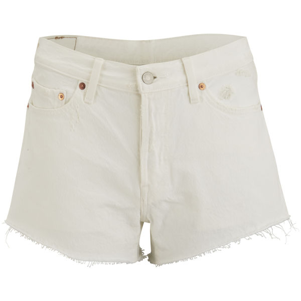 Levi's Women's 501 Vintage White Mid Rise Shorts - Neutral