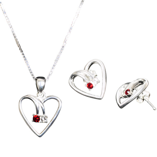 Swarovski Crystal Heart Pendant/Earrings