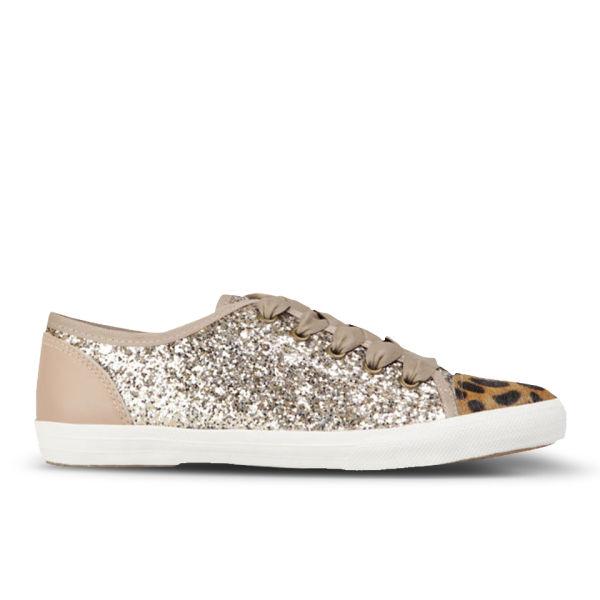 KG Kurt Geiger Women's Lucca Leopard/Glitter Trainers - Taupe
