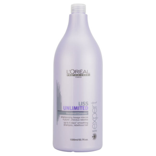 L'Oreal Professionnel Série Expert Liss Unlimited Force 2 Shampoo (1500 ml) med pump (Kombo)