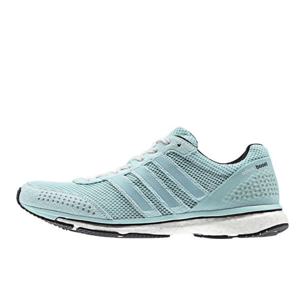 18901e6c04a adidas Women s adiZero Adios Boost 2 Neon Running Shoes - Light Blue Black   Image