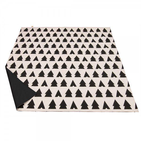 Anorak Trees And Tents Picnic Blanket Black Blush White