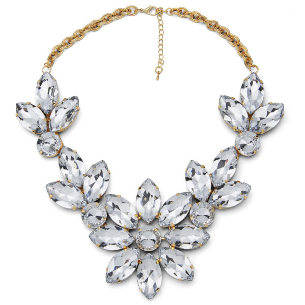 Impulse Women's Flower Gem Necklace - Clear