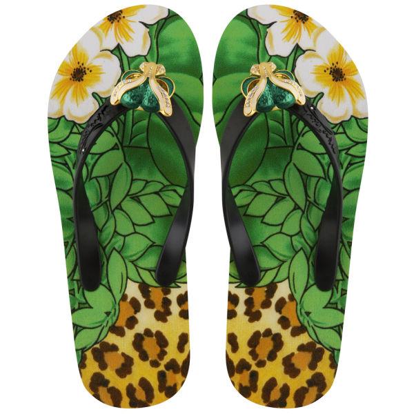 Miss Trish Women's Leopard Flip Flops - Black