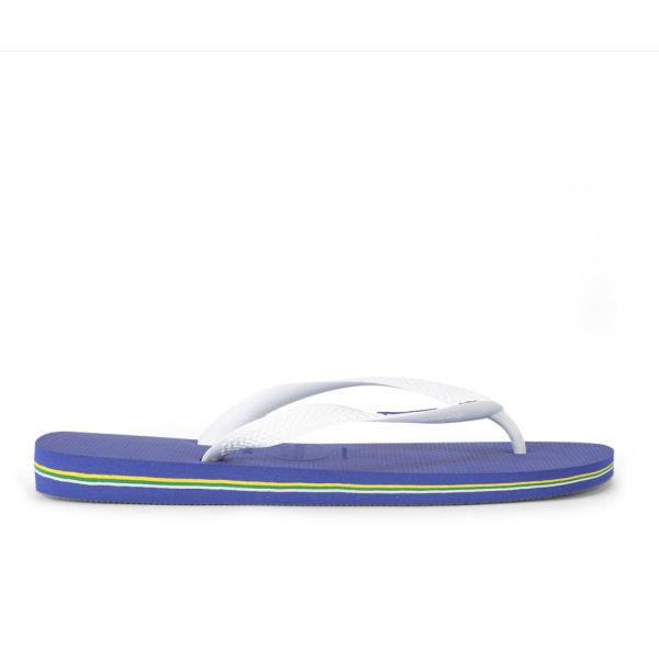 b074b1bd4e3bd7 Havaianas Brasil Logo Flip Flops - Marine Blue Womens Footwear ...