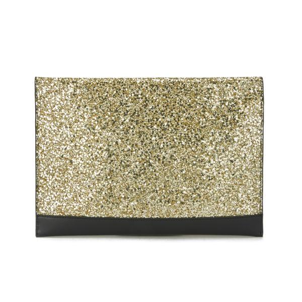 Lulu Guinness Glitter Naomi Clutch Bag - Black/Gold