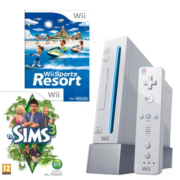 Nintendo Wii Console (White): Bundle (Including Wii Sports Resort and The  Sims 3)