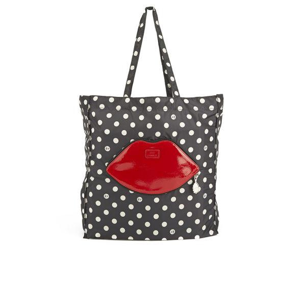Lulu Guinness Red Lips Dot Foldaway Shopper Bag - Black